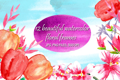 Watercolor bright floral square and round frames
