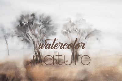 watercolor nature and landscape  trees Safari