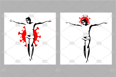 Jesus Christ crucified in medical masks. Color vector cartoon