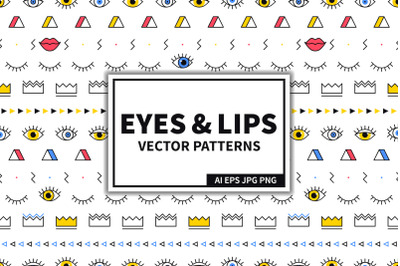 Eyes & Lips Seamless Patterns Set
