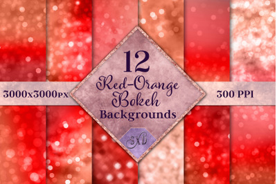 Red-Orange Bokeh Backgrounds - 12 Image Textures Set