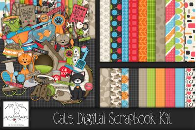 Cats Digital Scrapbook Kit.