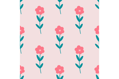 Cute red flowers seamless repeat pattern