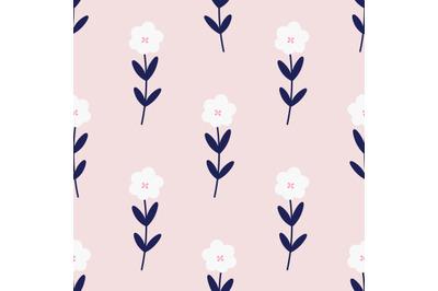 Cute pink flowers seamless repeat pattern