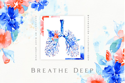 Watercolor Lungs Floral Illustration. Clinical wall art. Bronchial tre