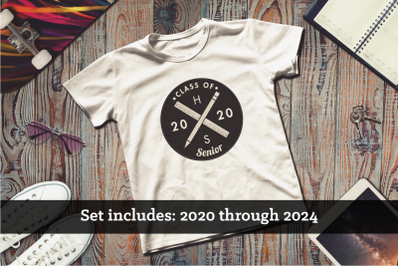 Hipster Logo Grad Class of 2020-2024 Set | Applique Embroidery