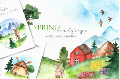 Watercolor spring landscape. Clipart, frames, seamless patterns