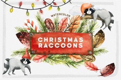 Watercolor Christmas Raccoons