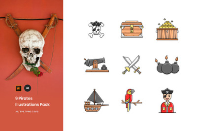 9 Pirates Illustrations Pack