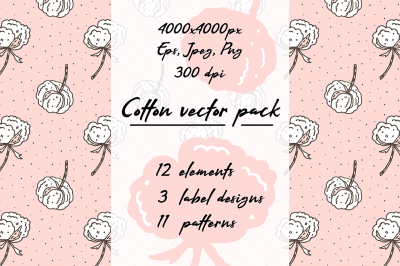 Hand drawn vector Cotton pack collection arts patterns