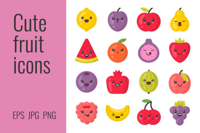 Cute smiling fruit icons