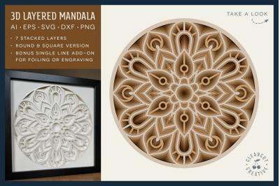 3D layered MANDALA svg | stacked paper shadow box | laser cut wood art