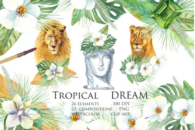Watercolor Tropical Dream Clip Art