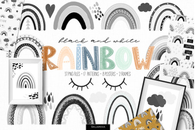 Black and white rainbow clipart