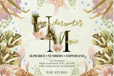 Marine Alphabet Clipart Letters Numbers Monogram Ampersand