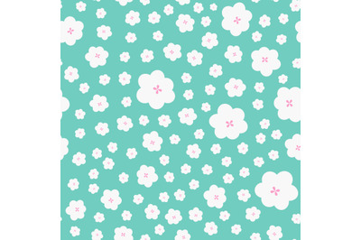 Cute white flowers seamless repeat pattern