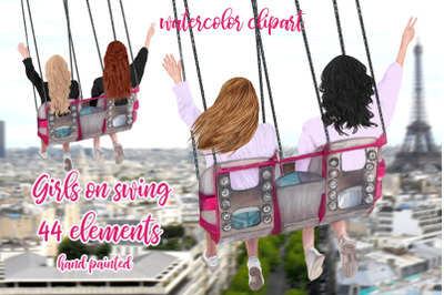 Best Friends Clipart, Girls on swing, Girls trip clipart