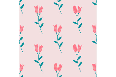 Red bluebell flowersseamless pattern