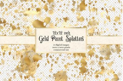 12x12 Gold Paint Splatter Overlays