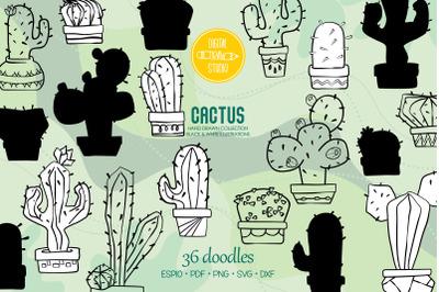 Cactus in Flower Pots   Hand drawn Succulent   Tropical House Plants