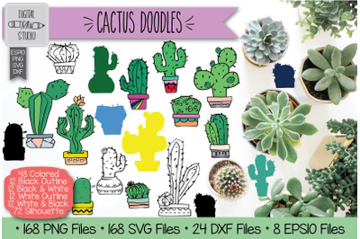 Hand Drawn Potted Cactus | House Plants Clip Art