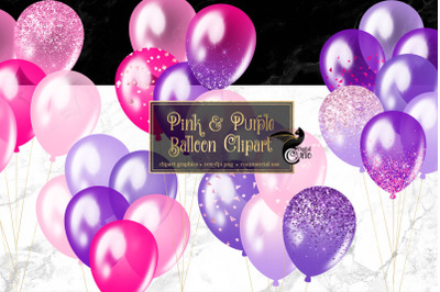 Pink and Purple Balloons Clipart