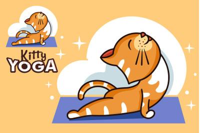 Funny Kitty yoga, cartoon character