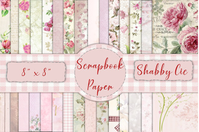 30 Scrapbook Papers. Pink, Shabby Chic 8 x 8 JPEG & PDF. Commercial Us