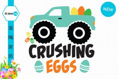 Crushing Eggs Svg, Easter Truck Svg