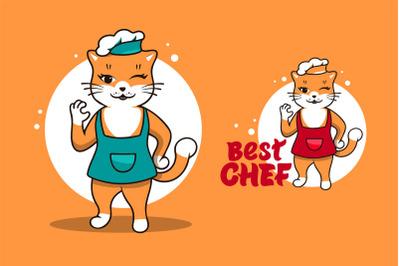 Funny Cat chef, cartoon character