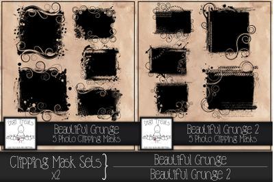 Clipping Mask Sets x2. Beautiful Grunge & Beautiful Grunge 2