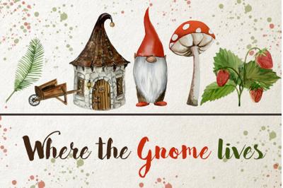 Watercolor Gnome Clip Art Set