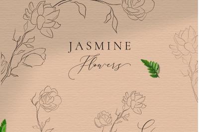 Line drawing delicate wreaths & floral frames illustrations