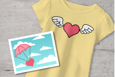 Flying Heart Valentine's Day Duo | SVG | PNG | DXF
