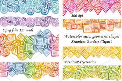 Watercolor misc. geometric shapes Seamless Borders Clipart