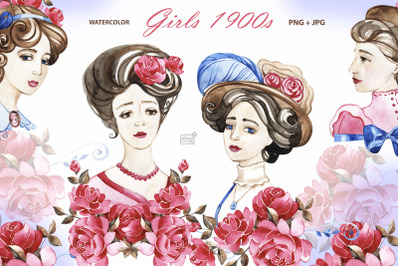 Vintage 1900s girls cliparts