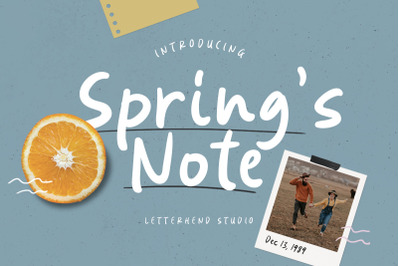 Springs Note  Handwritten Font