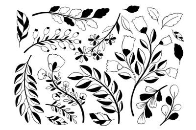 Plant set black and white