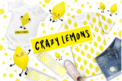 Crazy lemon. Fruits characters set. Yellow lemon with a face and a smi