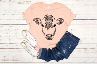 Cow mandala svg / zentangle cow svg mandala animal Heifer 1715s