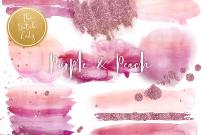 Purple & Peach Watercolor Clipart