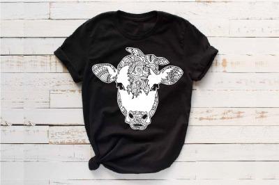 Cow whit bandana mandala svg zentangle cow animal Heifer 1717s