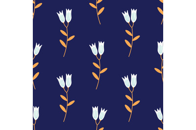 White bluebell flowersseamless repeat pattern