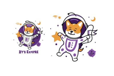 Funny dog astronaut, character