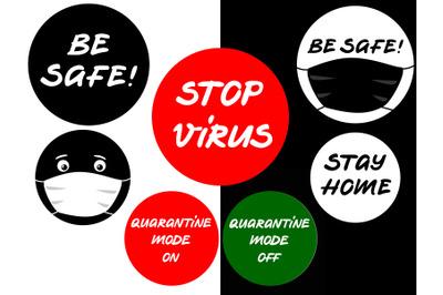 Virus secure stickers set. 8 round vector stickers about coronavirus