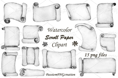 Watercolor Scroll Paper Clipart