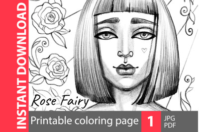 Rose fairy - coloring page