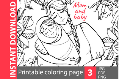 Mom and baby - coloring pages