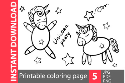 Unicorn party coloring pages