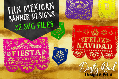 FUN MEXICAN BANNER DESIGNS - 32 designs - svg cut files